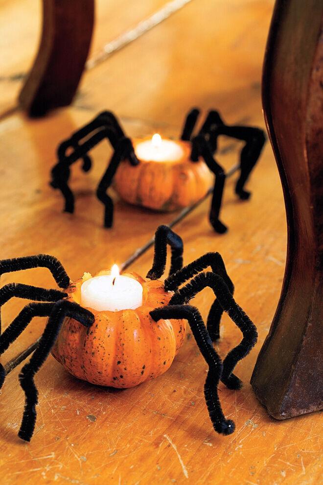 halloween decoration mini pumpkin spider