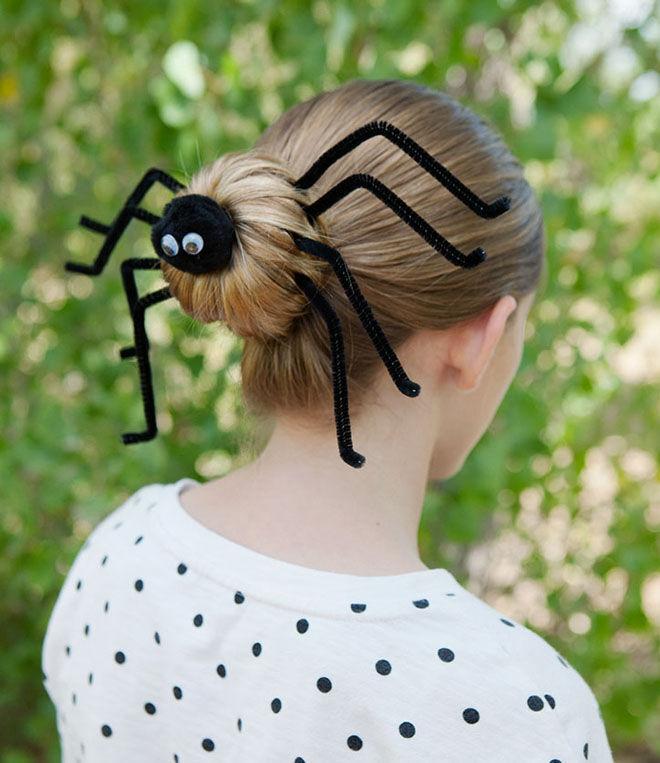 Halloween hair style spider bun
