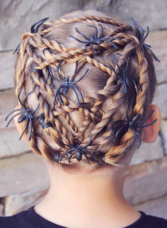 halloween hair spider web girls braid