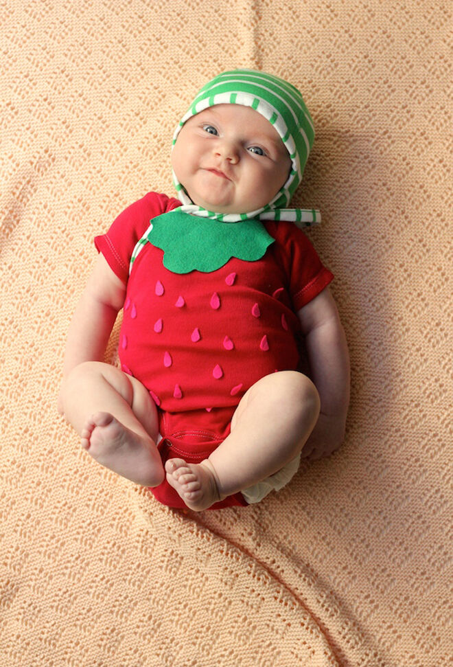 Halloween costume baby strawberry