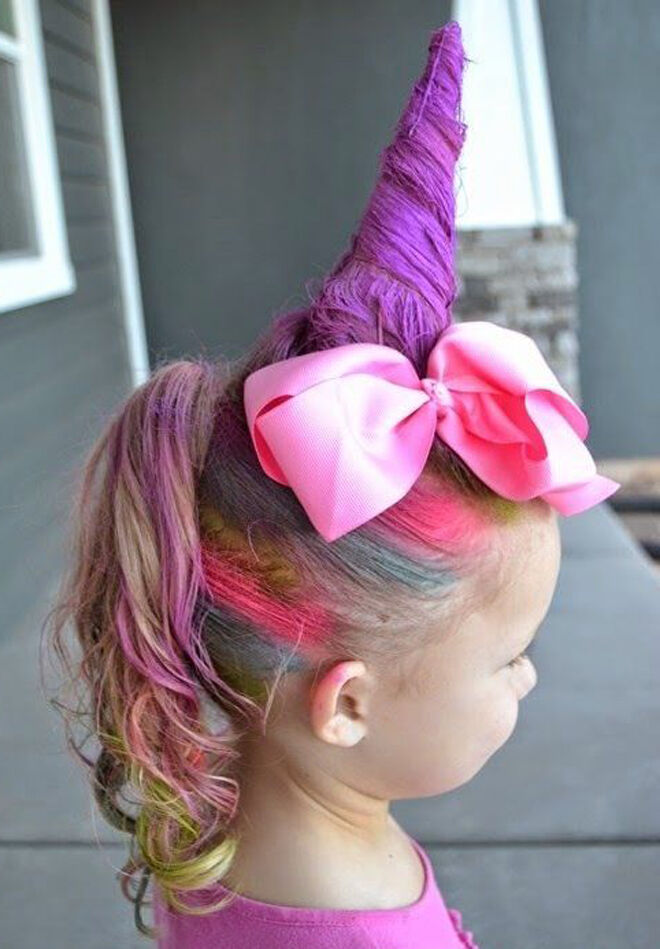 unicorn girls hair for halloween