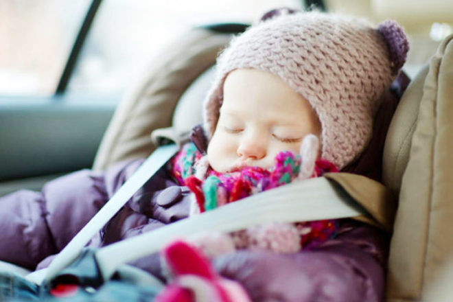 "Is it safe to let my baby to sleep in a car seat?"" is locked Is it safe to let my baby to sleep in a car seat? 
