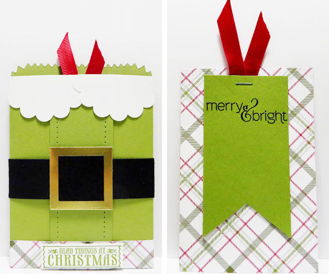 DIY Christmas treat bags with Santa belt and ribbon