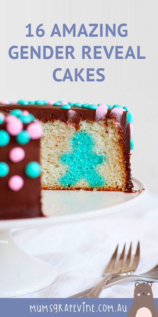 16 amazing gender reveal cakes to make right now Chocolate gender reveal cake with a sweet secret inside. #genderrevealcakeideas #genderrevealcakes #genderrevealcupcakes