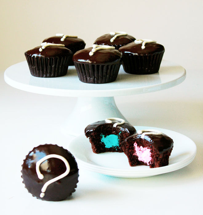 Chocolate gender reveal cupcakes