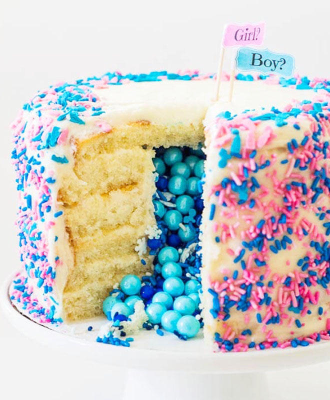 Gender Reveal Piñata Cake