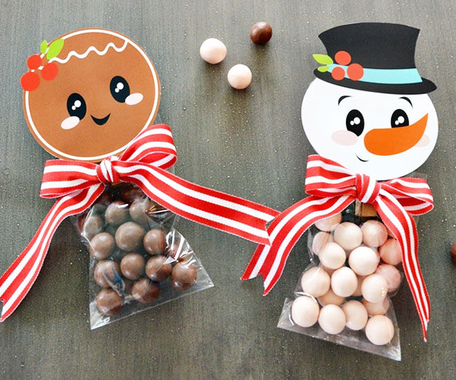 Gingerbread and snowman Christmas treat bags
