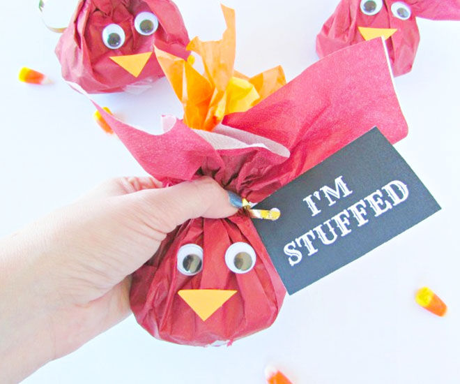 I'm stuffed, fun turkey Christmas treat bags