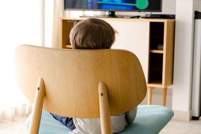 Watching the tv is one way to keep your toddler entertained while you feed your newborn baby