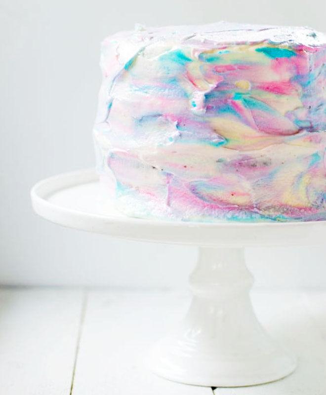 Marble gender reveal cake
