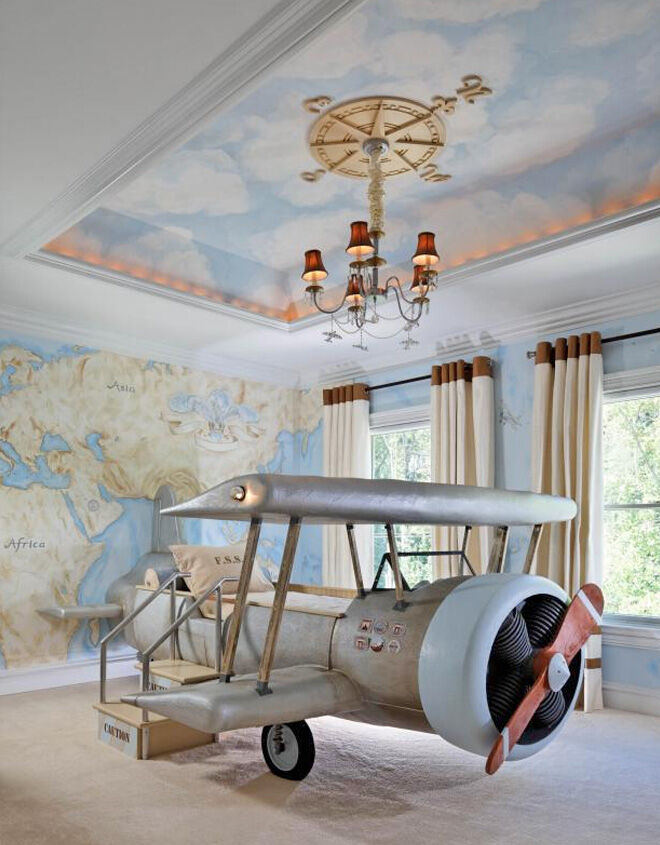 Aeroplane inspired child's bedroom