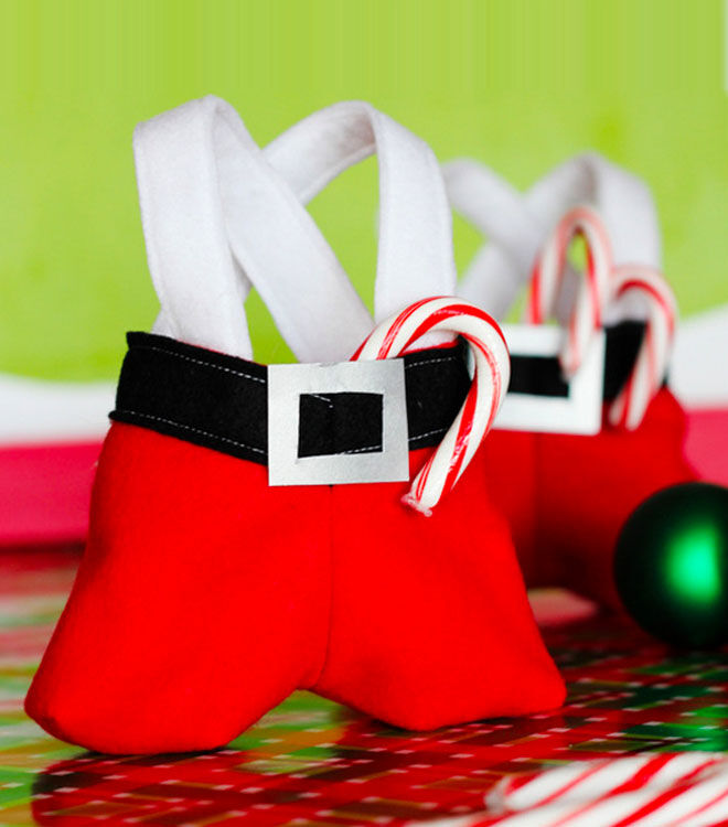 Santa pants Christmas treat bags with sewing template