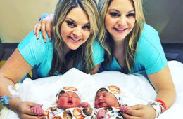 Twins have babies on same day