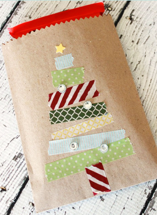Washi tape Christmas treat bag