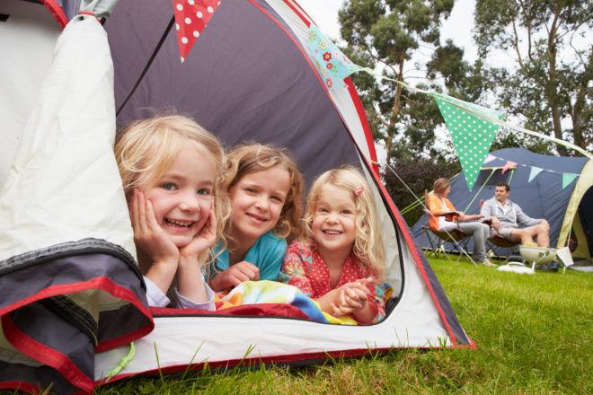 Three kids camping