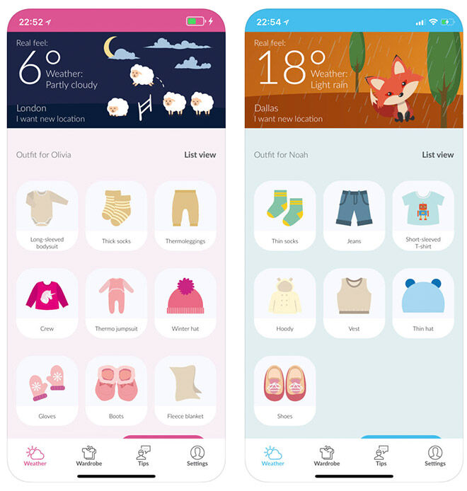 BabyWeather outfit chooser app