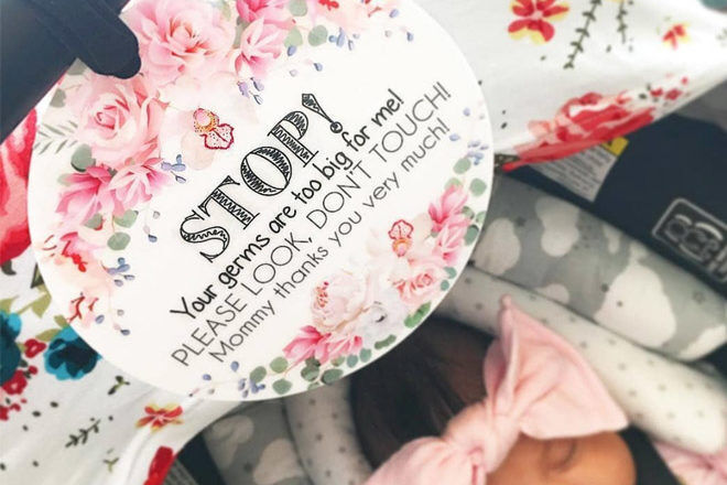 Tags to stop people touching newborns