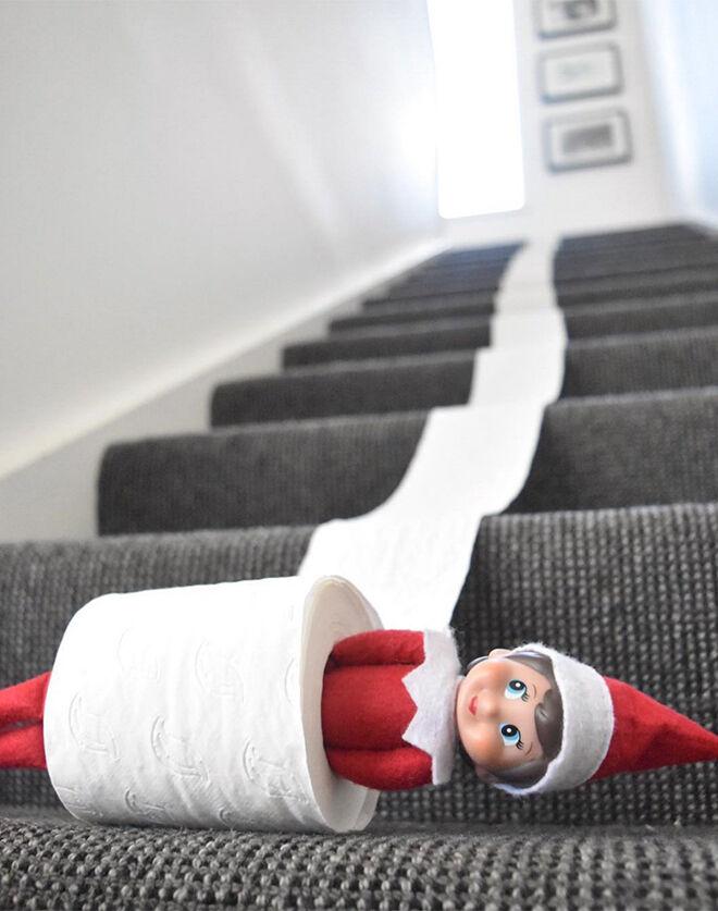 Elf on the Shelf ideas toilet roll