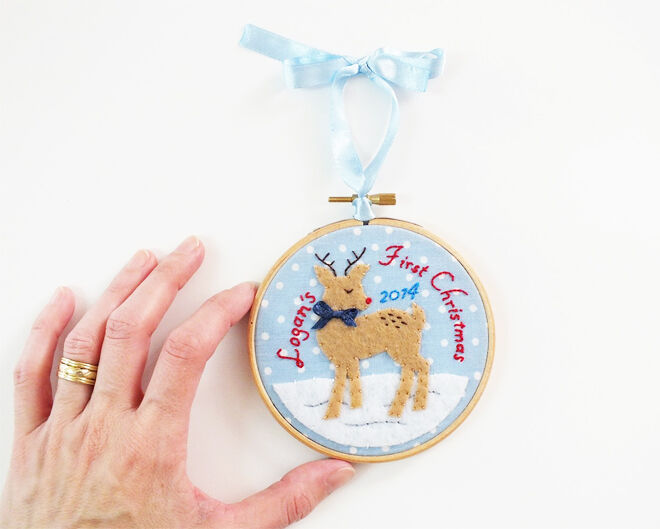 Embroidered First Christmas ornament