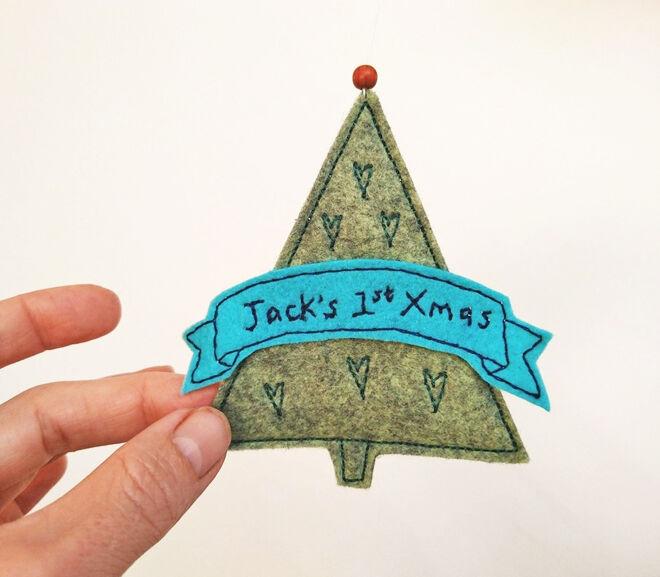 Felt Christmas tree baby ornament