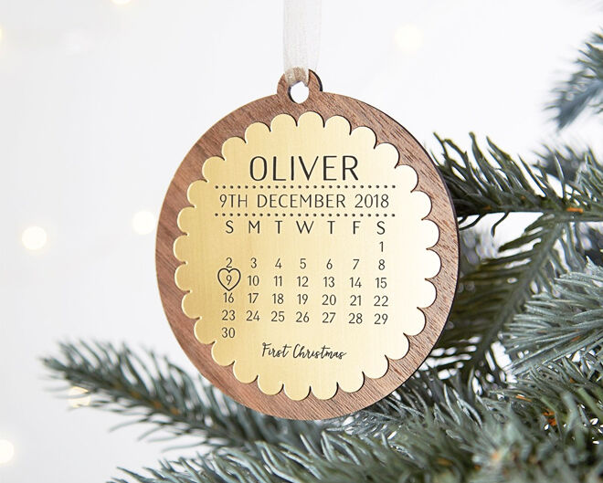 Baby's first Christmas calendar ornament