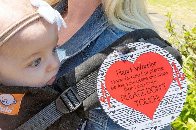 Heart warrior warning tag