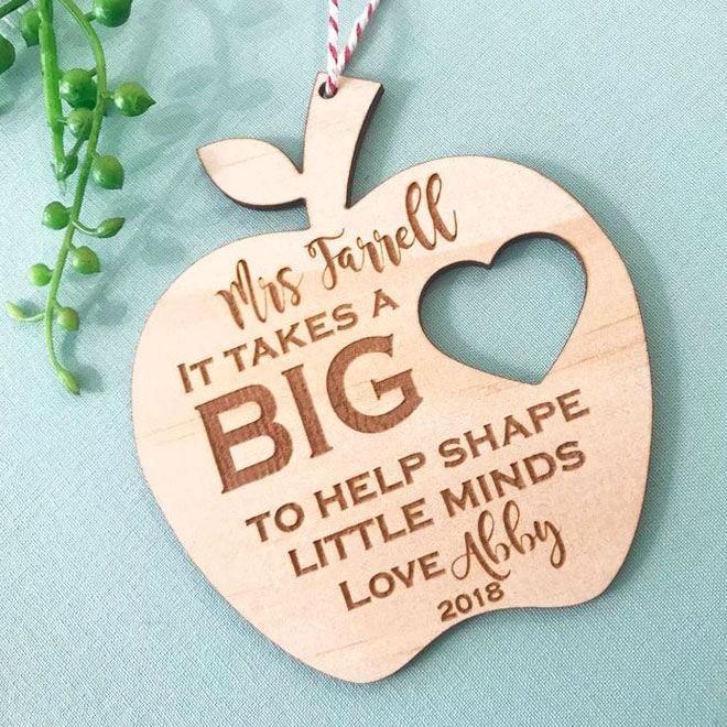 Personalised teacher gift, apple ornament