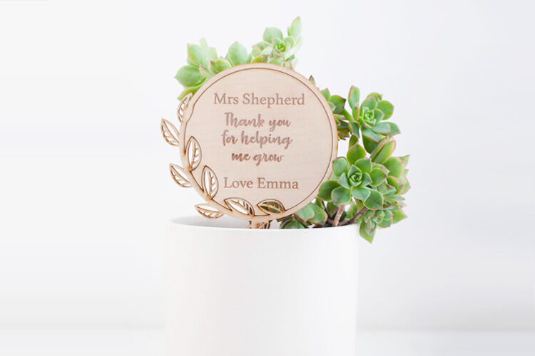 Personalised plant stick gift for teachers