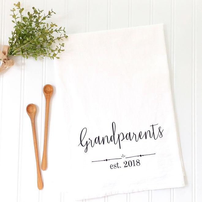 Personalised tea towel for grandparents