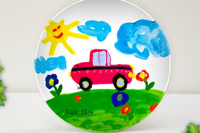 Personalised plate with child's drawing.