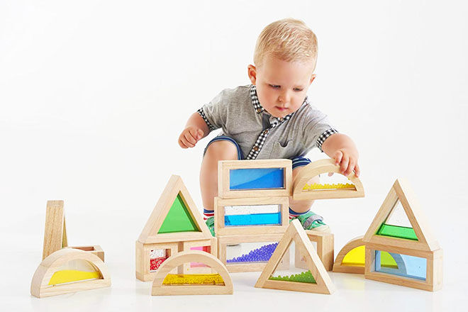 Rainbow stacking blocks by Tickit