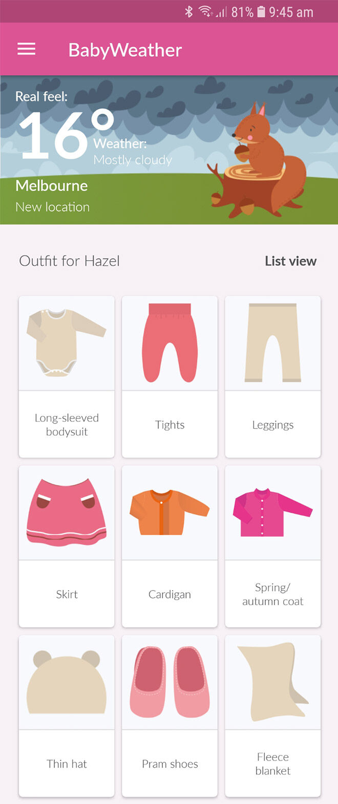 BabyWeather app outfit chooser
