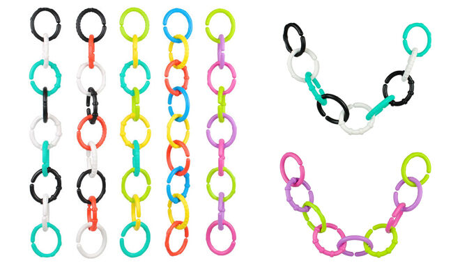 Baby teether links for organising baby clothes