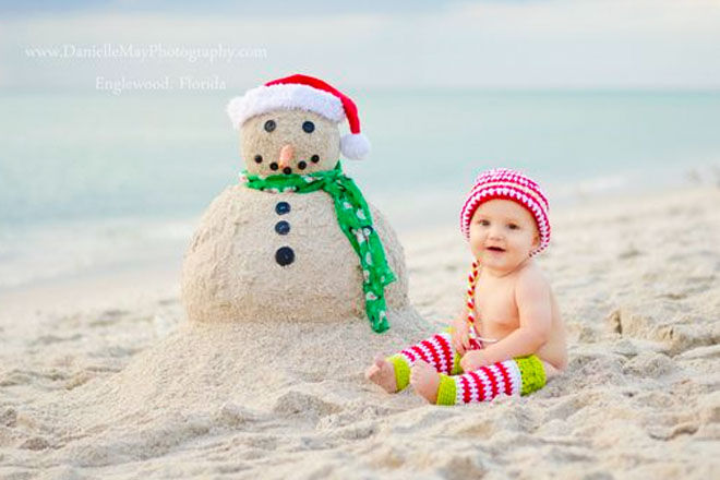 Baby's first Christmas photo, an Australian Christmas at the beach