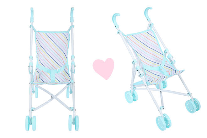Striped dolls stroller, Kmart