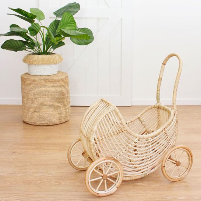 Koko Collective rattan dolls pram