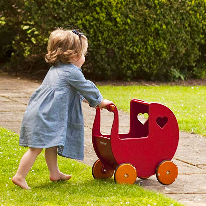 Moover doll's pram, red