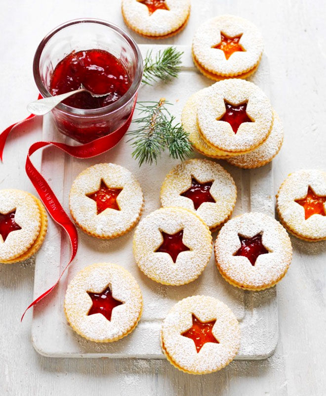 Jam stained glass Christmas cookies