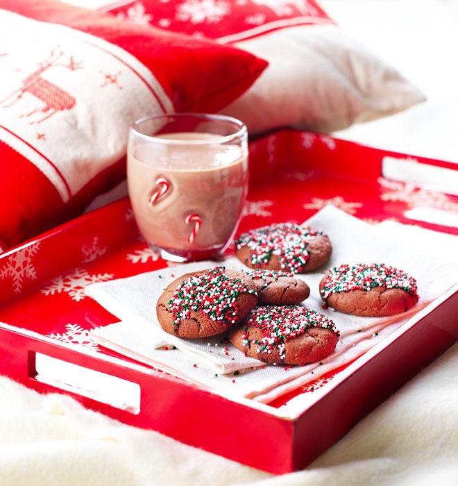 Chocolate Christmas cookies with sprinkles
