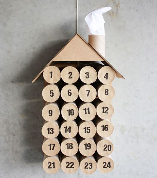 Advent calendar made from toilet rolls