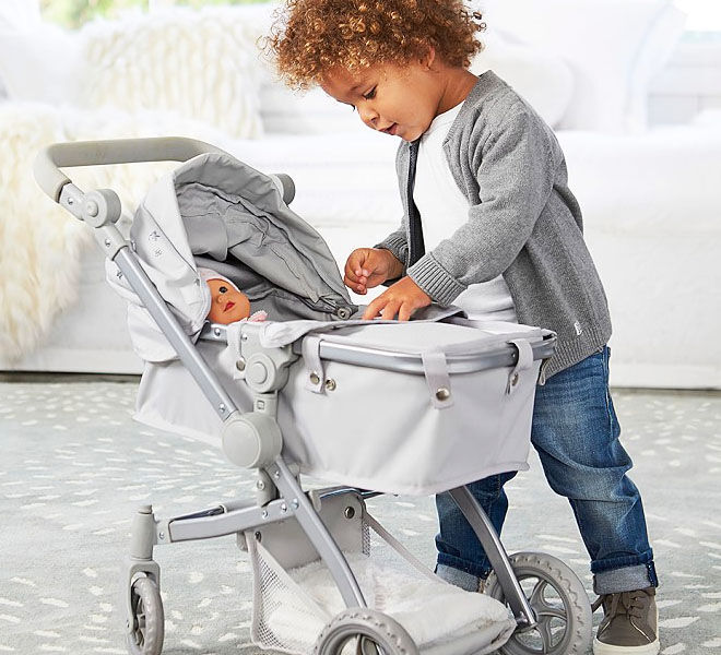 Pottery Barn Kids Grey Stars Doll Pram Stroller