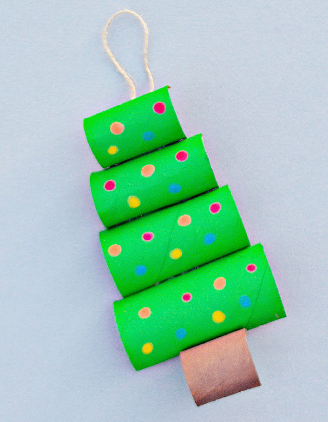 Christmas tree toilet roll craft