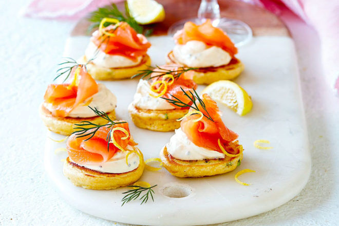 Smoked salmon on polenta pikelets make a great Christmas appetiser and delicious finger food for toddlers too