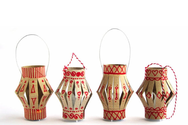 Toilet roll craft - Christmas lanterns