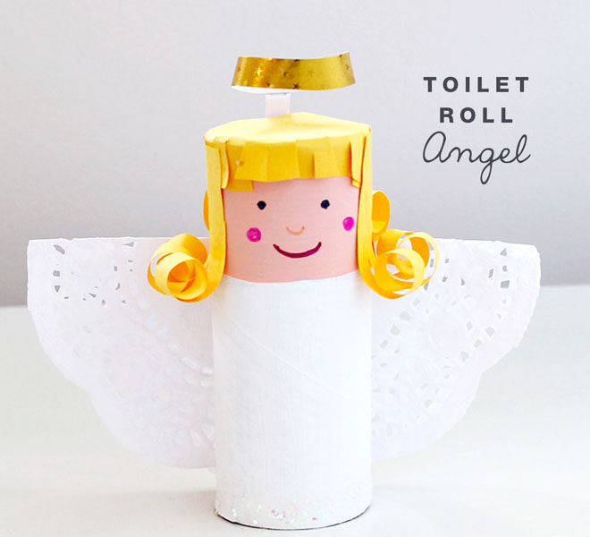 Christmas angel toilet roll craft