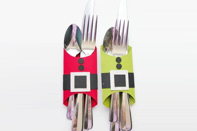 Christmas cutlery holder, easy toilet roll craft