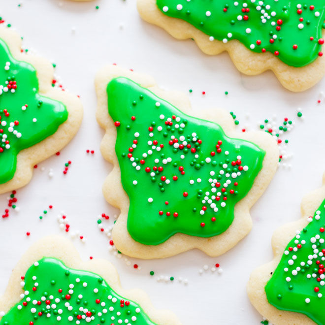 Iced Christmas tree Christmas cookies