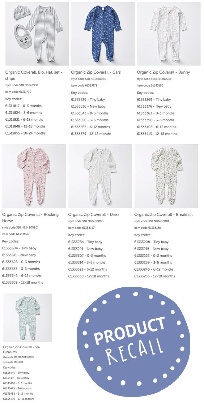 Target baby coveralls recall