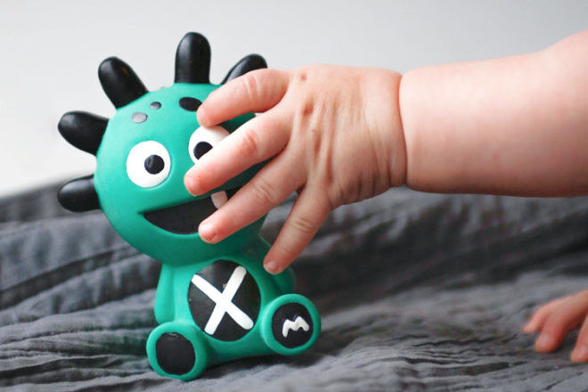The Mibblers, teal teether for babies