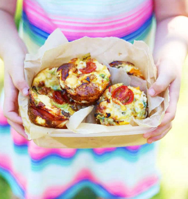 Crustless lunch box quiches